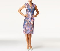 Anne Klein Textured-Stripe Floral Dress, Multi