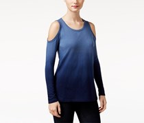 Style & Co. Petite Ombre Cold-Shoulder Top, Industrial Blue