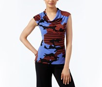 Anne Klein Cowl-Neck Printed Top, Chicory Combo