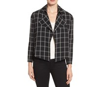 Anne Klein Windowpane Jacquard Blazer, Black