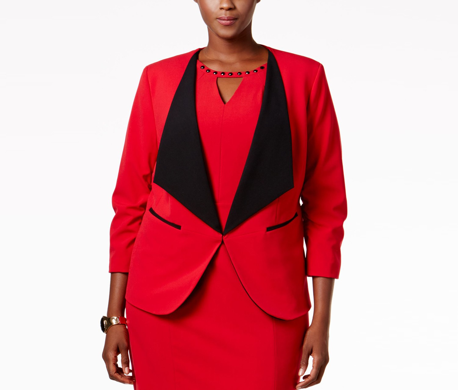Nine West Taylor Stretch Wide-Lapel Blazer, Fire Red/Black