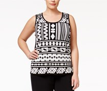 Plus Size Geometric Sleeveless Sweater, Black/White
