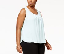Anne Klein Plus Size Pleated Tank Top, Clear Water
