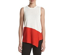 Anne Klein Colorblocked Asymmetrical, Tomato Red/Ivory