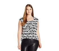 Kasper Plus Size Printed Square-Neck Top, Black/White