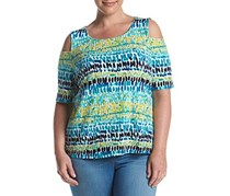 Kasper Plus Size Tie-Dyed Off-The-Shouder, Island Combo