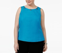 Kasper Plus Size Grommet-Trim Shell Top, Grotto