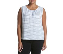 Nine West Plus Size Dot Printed Woven Top, Breeze/Ivory
