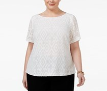 Kasper Plus Size Textured Illusion Top, White