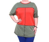 Anne Klein Short Sleeve  Top, Tomato Combo