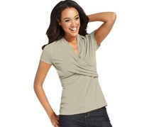 Womens Short-Sleeve Faux-Wrap Top, Sand