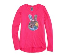 So Nikki Girls' Peace Sign Applique Waffle Knit Tee, Pink