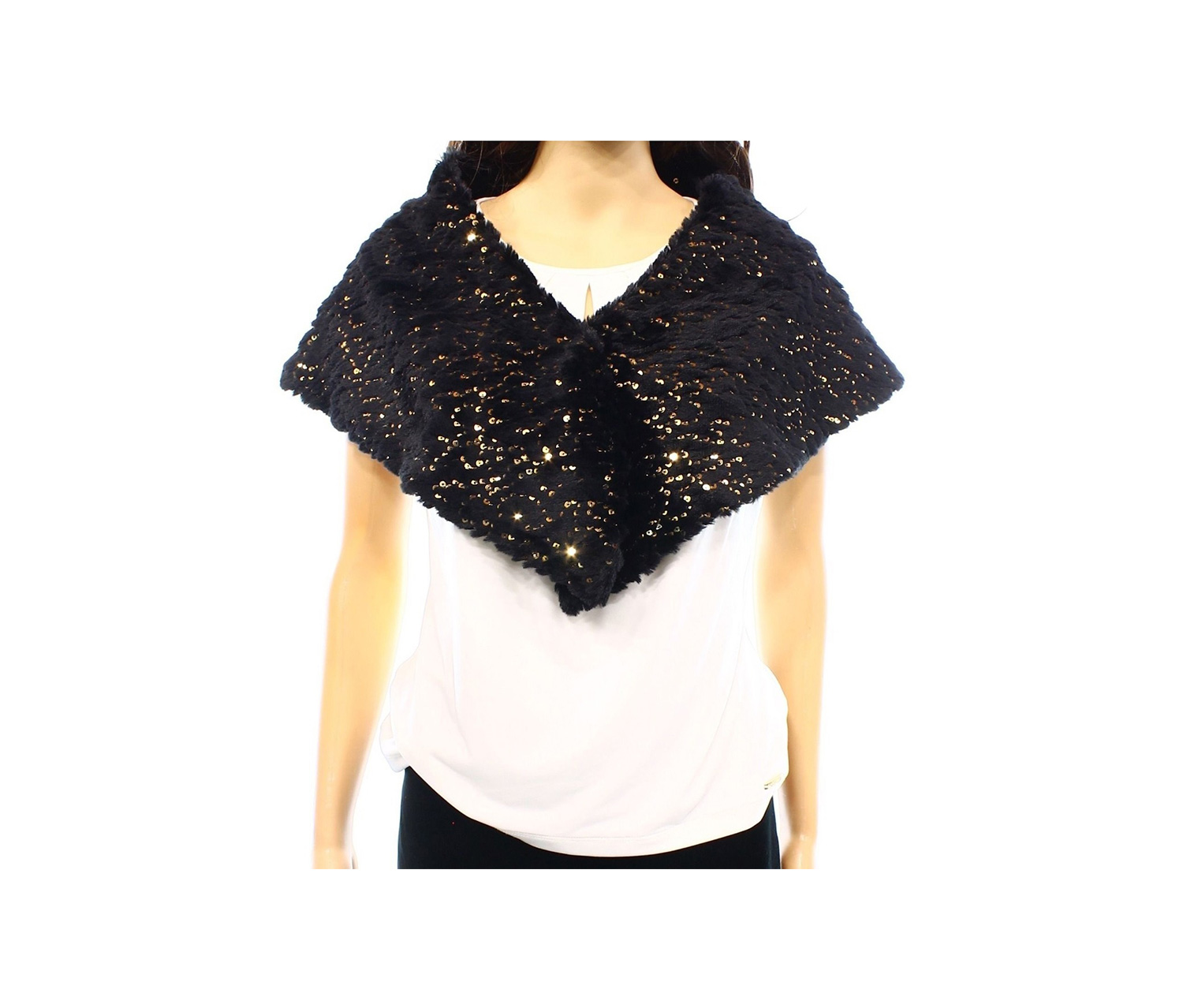 SLNY Faux Fur Gold Sequin V-Neck Snap Button One Stole