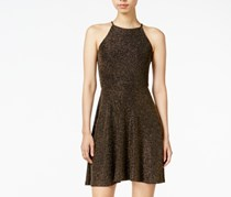 Bar III Women's Metallic Fit & Flare Dress, Gold