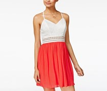BCX Junior's Strappy-Back Fit Flare Dress, Coral