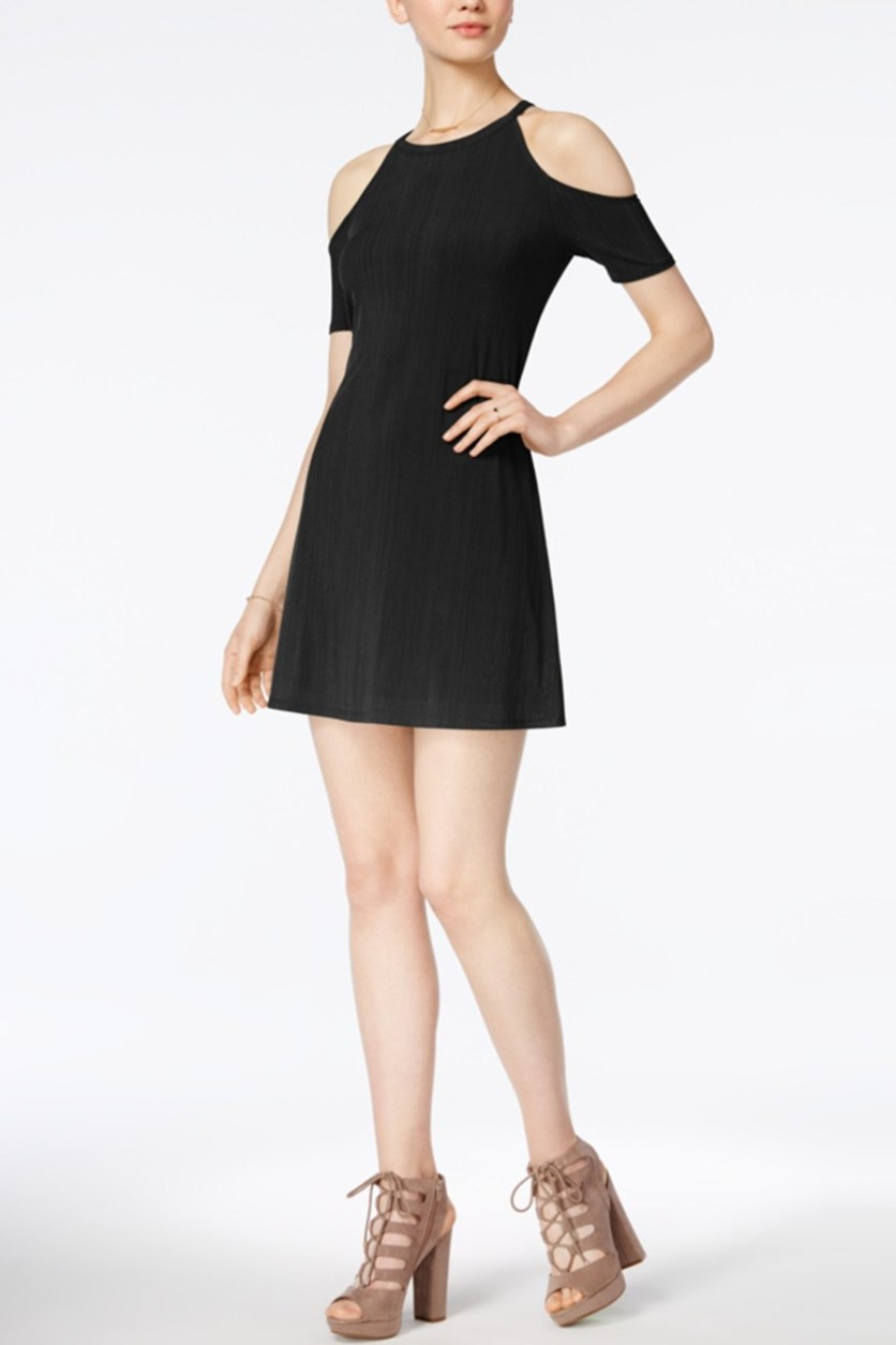 Pleated Cold-Shoulder Dress, Deep Black