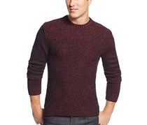 Alfani Men's Crew Neck Marled Sweater, Crimson Red