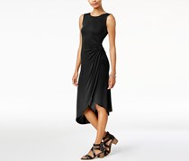Bar III Twisted Faux-Wrap Dress, Deep Black