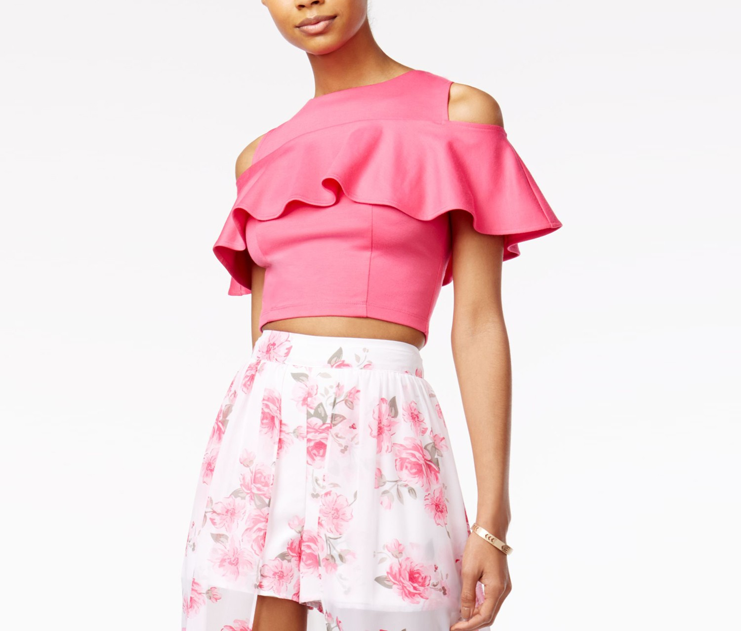The Edit By Seventeen Juniors' Ruffled Cold-Shoulder Crop Top, Pink