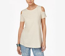 Style & Co Cotton Cold-Shoulder Top, Oatmeal Heather