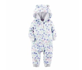 Carter's Baby Girls' Floral Hooded Jumpsuit, White