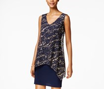 SLNY Women's Metallic Popover Sheath Dress, Navy/Gold