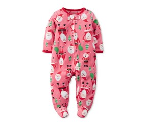 Carters Santa-Print Footed Cover  Bodysuit, Red Multi