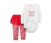 Carter's Baby Girls 2-pc. Long Sleeve Pant Set, Red/White