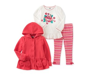Kids Headquarters 3-Pc. Hooded Jacket T-Shirt Coral, Pink