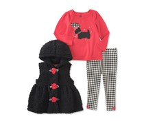 Kids Headquarters 3-Pc. Hooded Vest, T-Shirt & Leggings Set, Red/Black