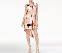 Bar III Printed Asymmetrical Shift Dress, Peach Combo