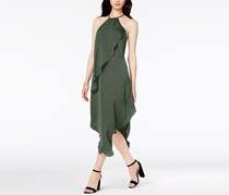 Bar III Draped Asymmetrical Dress, Dusty Olive
