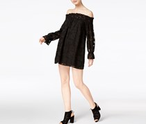Bar III Textured Off-The-Shoulder Dress, Deep Black