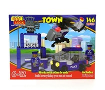 Best-Lock Town Building Toy 146 Pieces, Red/Blue