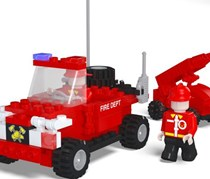 Best-Lock Fire Rescue Building Toy 122 Pieces, Red/Blue