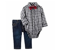 Carters 3-Pc. Check-Print Bodysuit, Denim/Black