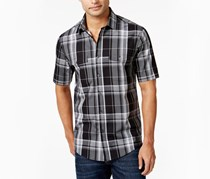Mens Pendleton Plaid Short-Sleeve Shirt, Deep Black
