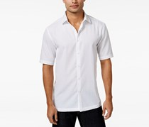 Alfani Men's Textured Short-Sleeve Shirt, White