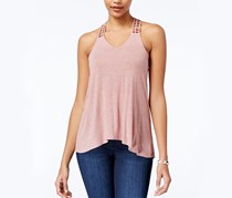 American Rag Crocheted-Back High-Low Tank Top, Pale Mauve