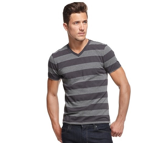 c33ba9616548 Shop Alfani Alfani Men's Wide Striped V-Neck T-Shirt, Deep Black ...