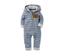 Carter's Baby Boys' Striped Hooded Coverall, Grey