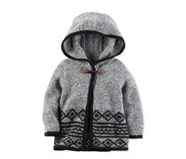 Carter's Baby Girls' Hooded Sweater Poncho, Grey/Black