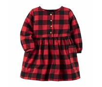 Carters Checkered-Plaid Cotton Dress, Red