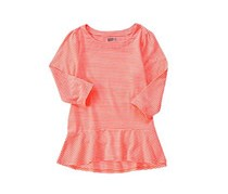 Crazy 8 Stripe Peplum Top, Neon Orange