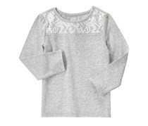 Crazy 8 Little Girls Lace Panel Tee,Heather Grey