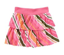 Crazy 8 Girls Tiered Ruffle Skirt, Paradise Pink Stripe