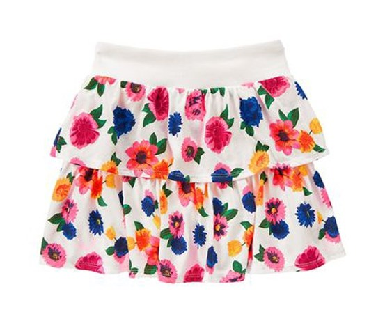 Girls Tiered Ruffle Skirt,Ivory Flower