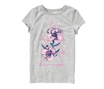 Crazy 8 Girl's Floral Triangle Tee, Heather Grey