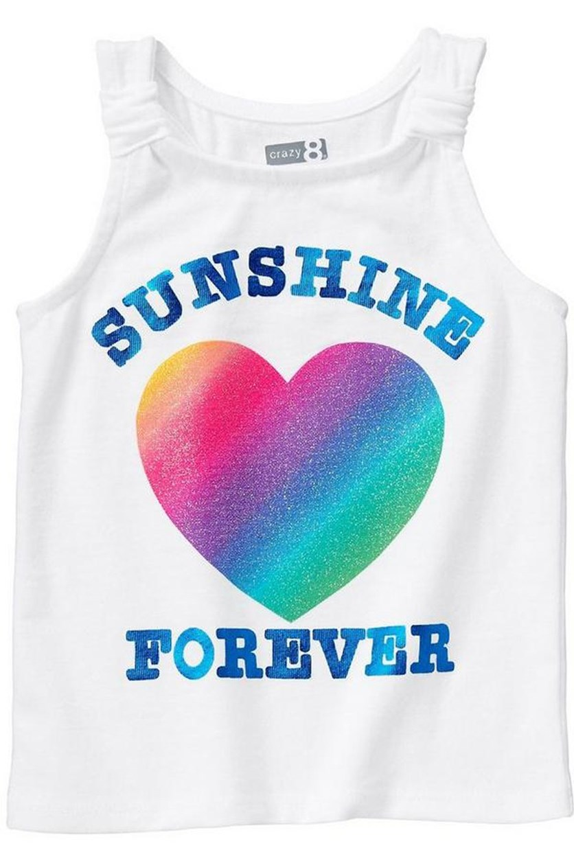 Toddler Girl's Sunshine Forever Tank, White