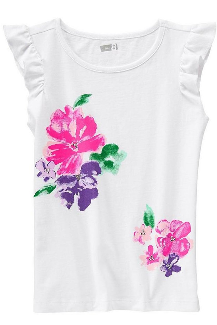 Girls Brushstroke Floral Tee, White
